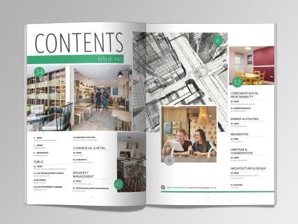 Contents spread for PAD magazine