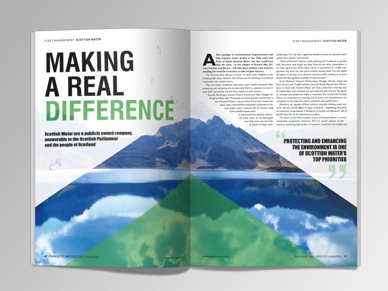 Magazine spread for Transport & Logistics magazine